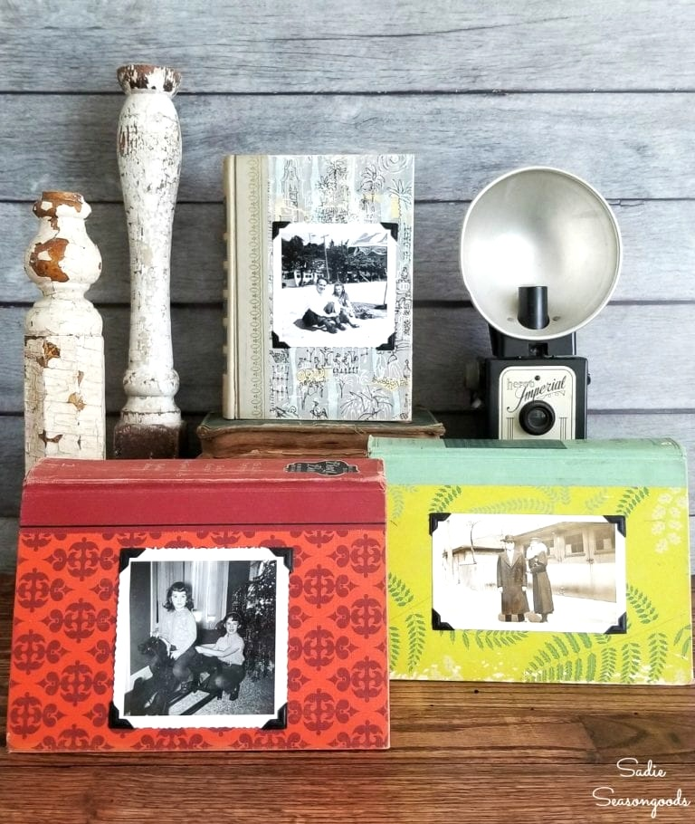Repurposed vintage book picture frames by Sadie Seasongoods, featured on Funky Junk Interiors