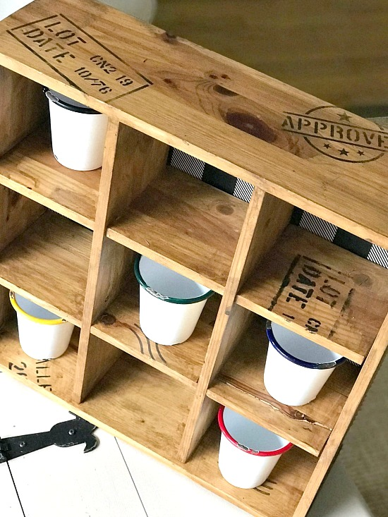 Shipping crate stamped wooden cubbie by Homeroad, featured on Funky Junk Interiors
