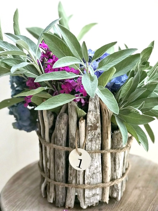 Driftwood flower vase by Homeroad, featured on Funky Junk Interiors