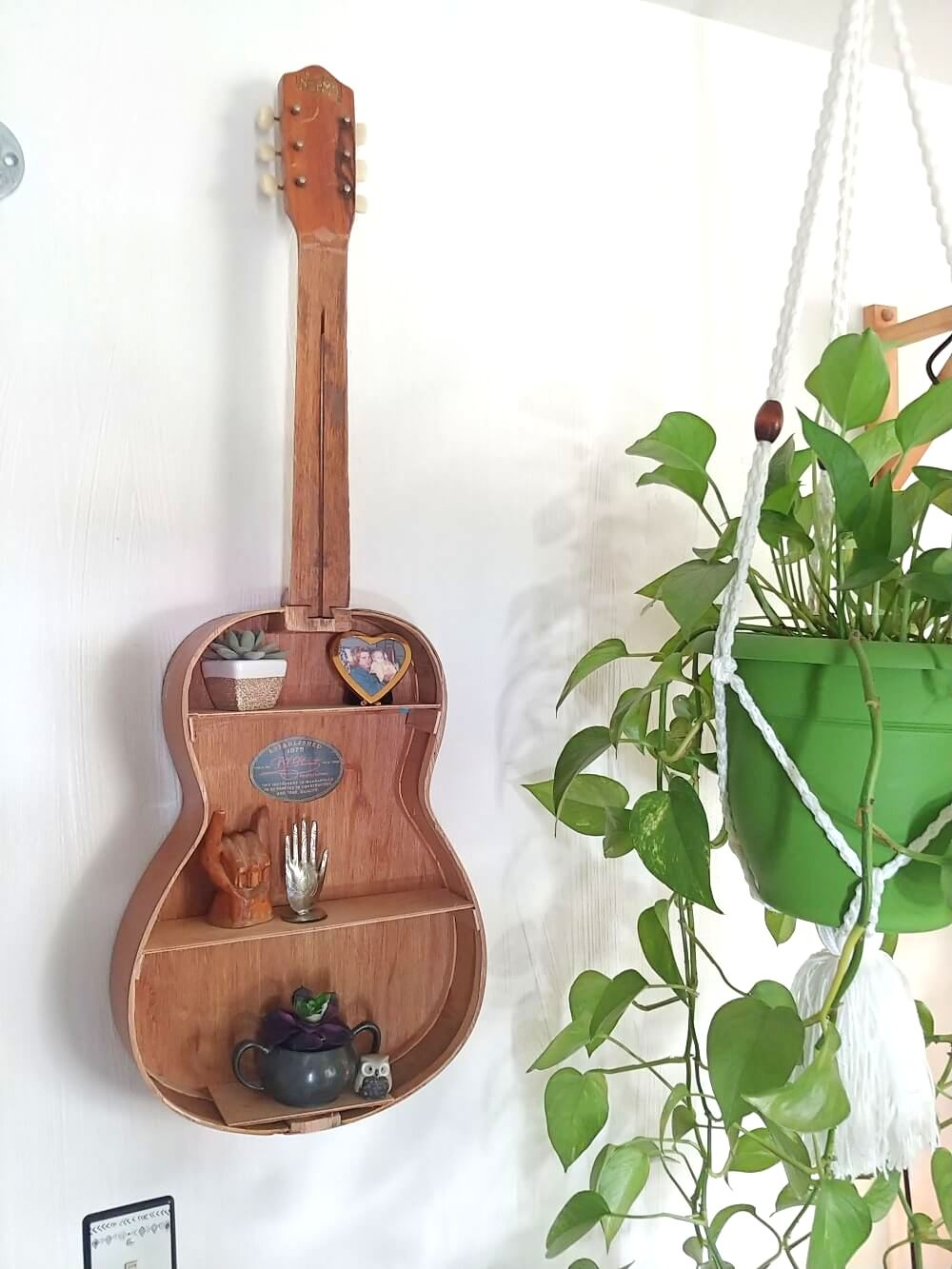 Guitar shelf by Little Vintage Cottage, featured on Funky Junk Interiors
