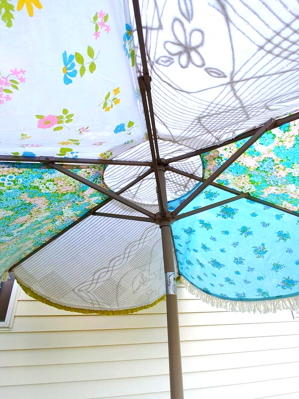 Patchwork umbrella cover by Little Vintage Cottage, featured on Funky Junk Interiors