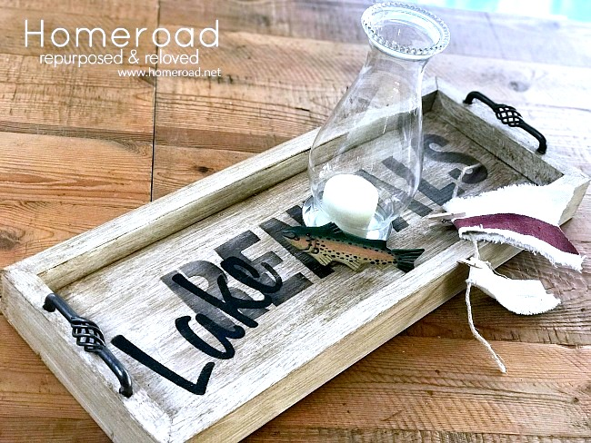 Rustic lake house tray by Homeroad, featured on Funky Junk Interiors