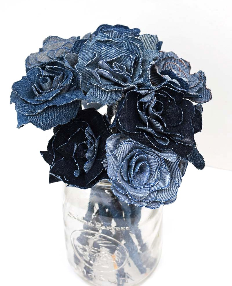 Denim flower bouquet by Pillar Box Blue, featured on Funky Junk Interiors