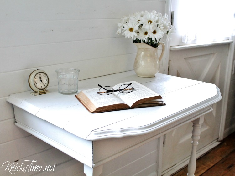 Half table nightstand by Knick of Time, featured on Funky Junk Interiors