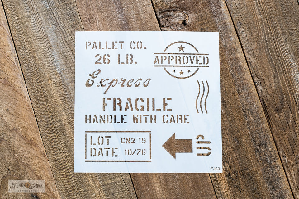 Learn how to create pallet styled projects with this Shipping Crate Stamps stencil! #stencil #palletwood #pallets #stencils #oldsignstencils