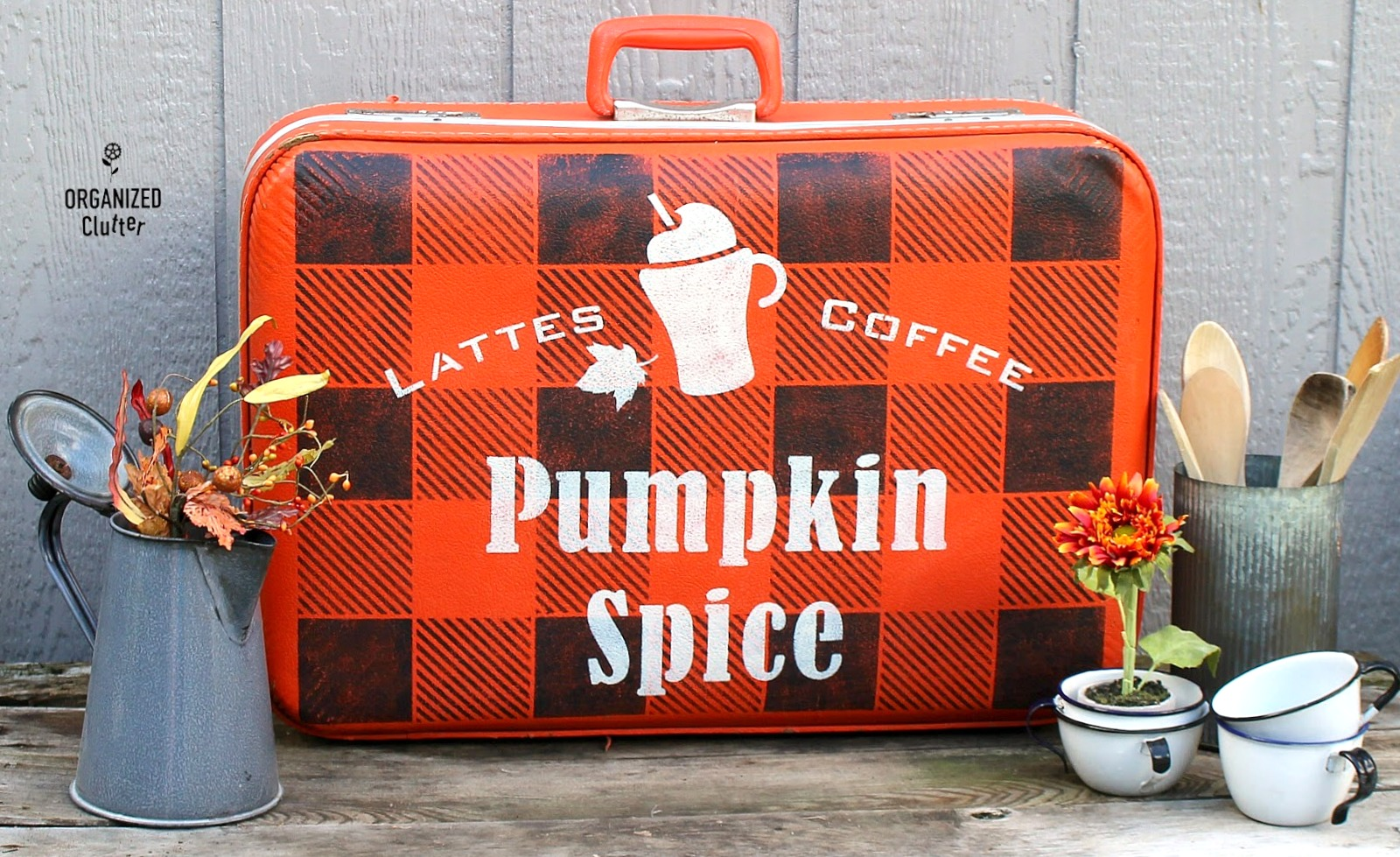 Vintage suitcase Pumpkin Spice fall sign by Organized Clutter, featured on Funky Junk Interiors