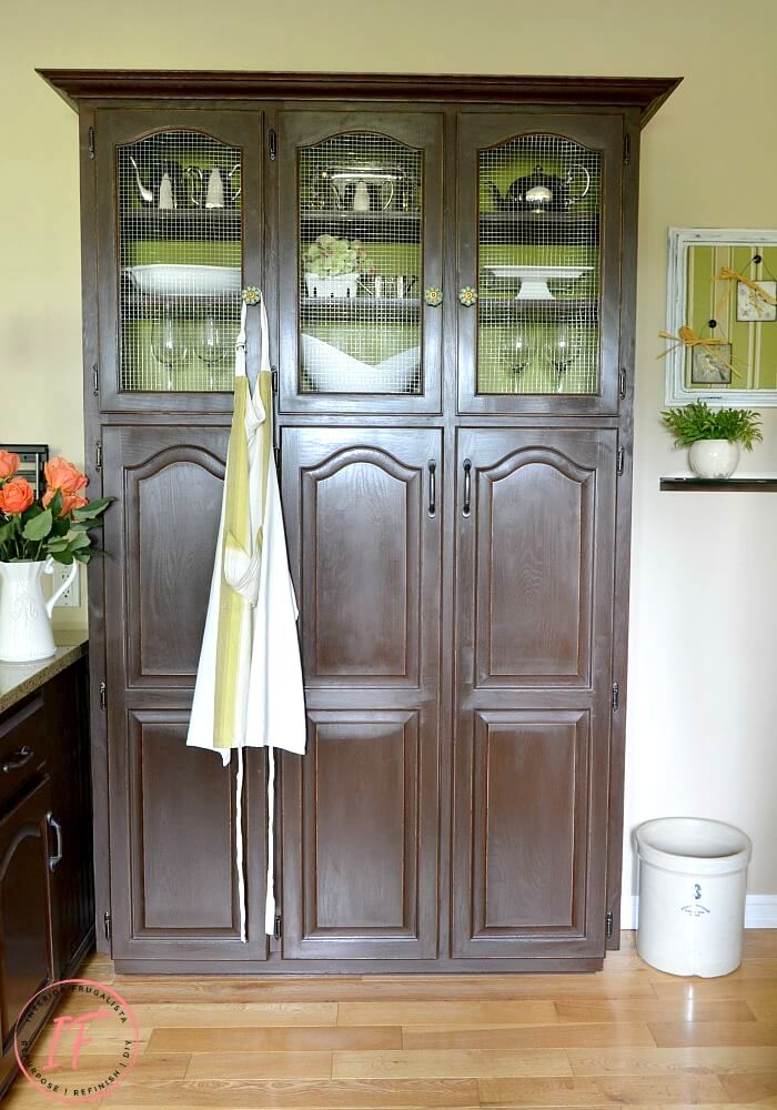 Wire mesh window pantry makeover by Interior Frugalista, featured on Funky Junk Interiors