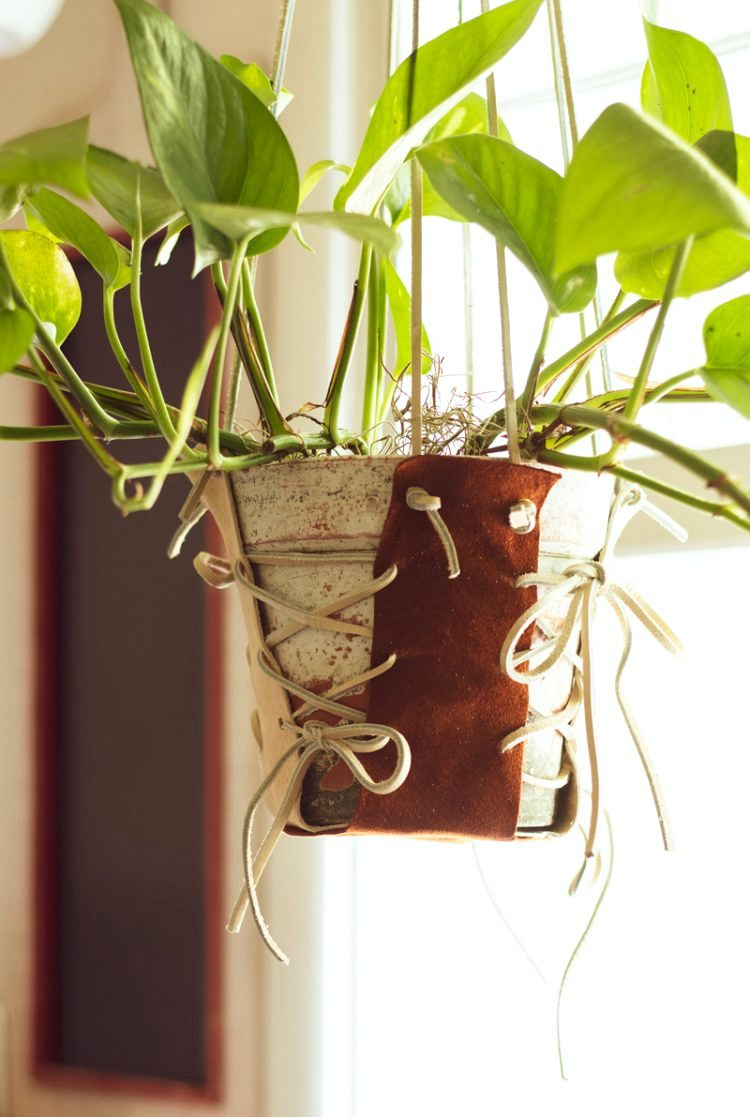 Leather plant hanger by The How-To Home, featured on Funky Junk Interiors