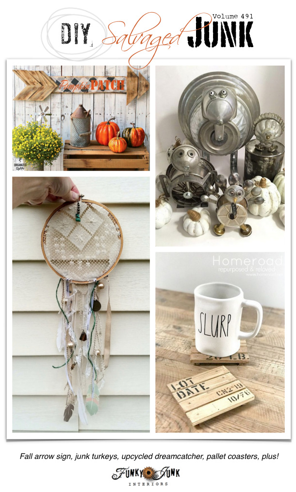 DIY Salvaged Junk Projects 491 - Fall arrow sign, junk turkeys, upcycled dreamcatcher, pallet coasters, plus! Features with an up-cycled link party!