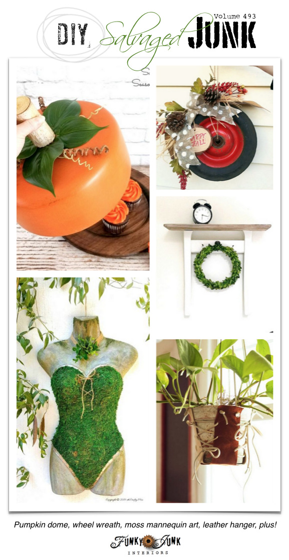 DIY Salvaged Junk Projects 493 - Pumpkin dome, wheel wreath, moss mannequin art, leather hanger, plus! Features with an up-cycled link party.
