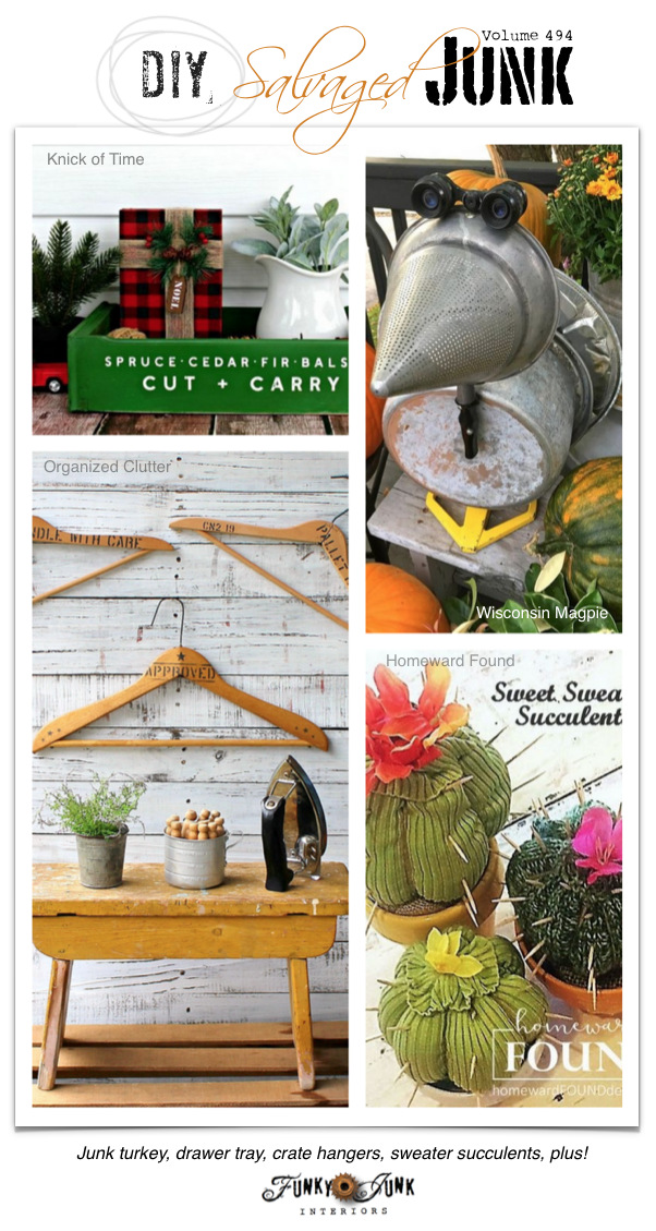 DIY Salvaged Junk Projects 494 - Junk turkey, drawer tray, crate hangers, sweater succulents, plus! Features and an up-cycled link party. Join in!