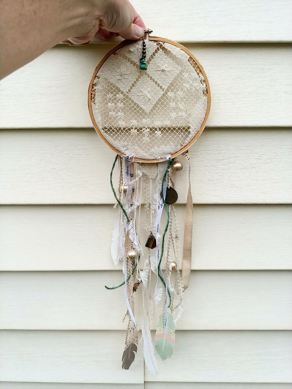 Upcycled dream catcher by Little Vintage Cottage, featured on Funky Junk Interiors