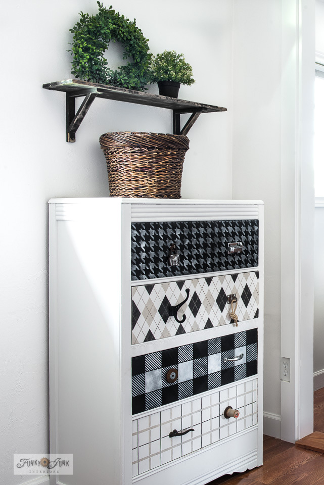 Learn how to stencil this fabric-styled dresser with Houndstooth, Argyle, Buffalo Check and Plaid with Funky Junk's Old Sign Stencils.