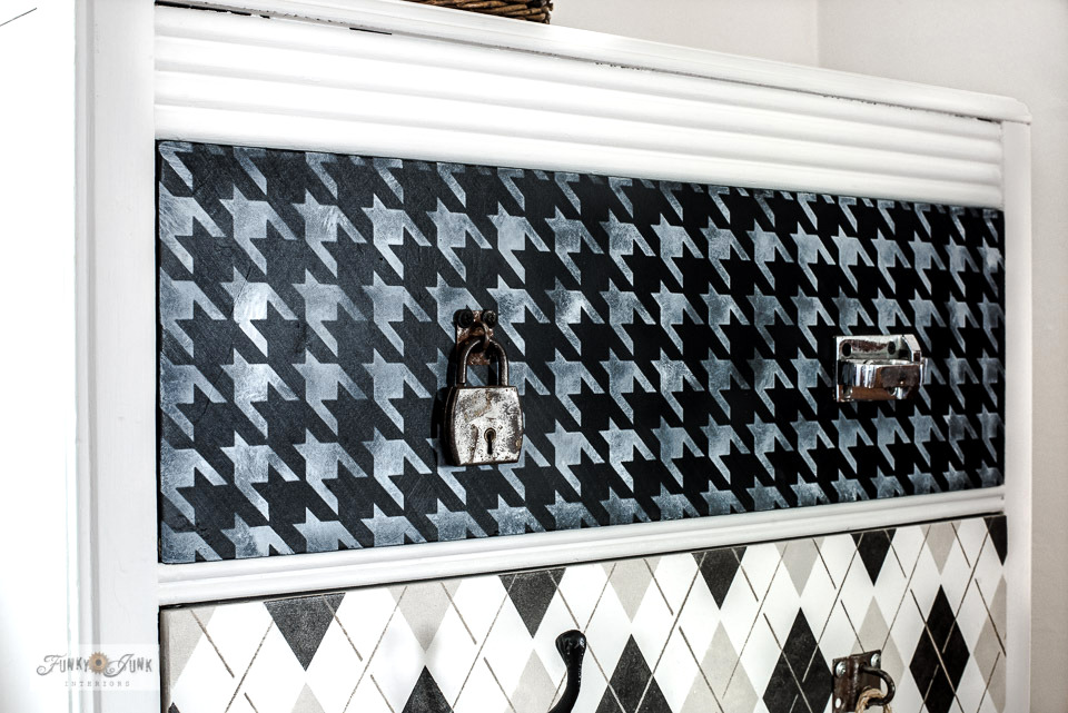 Learn how to paint this fabric pattern stenciled dresser makeover with Houndstooth, Argyle, Buffalo Check, Plaid from Funky Junk's Old Sign Stencils!