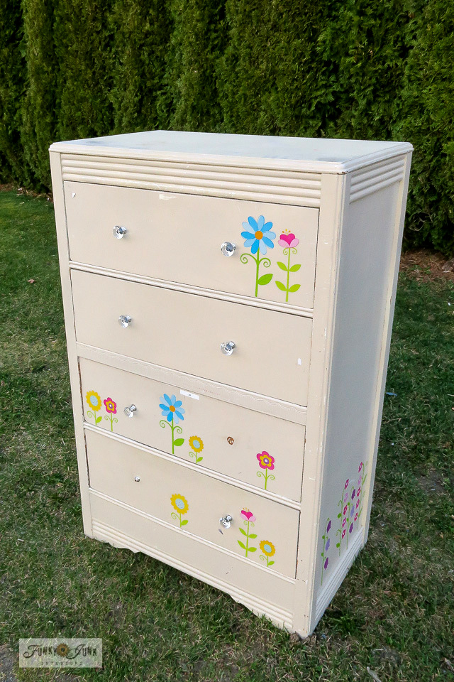 Fabric pattern stenciled dresser makeover
