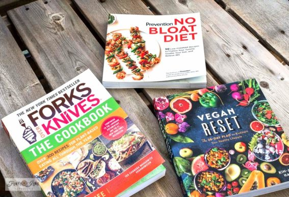 Healthy cook books Forks over Knives, No Bloat Diet, Vegan Reset