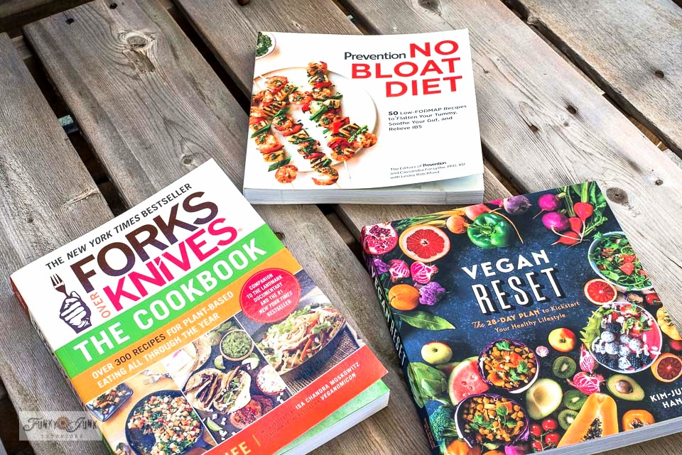 Learn how I'm beating high cholesterol with these healthy cook books Forks over Knives, No Bloat Diet, Vegan Reset, part of My new low FODMAP Mediterranean diet hobby.