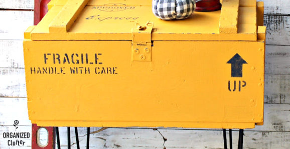 shipping crate with pin legs makeover