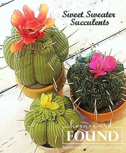 Sweet sweater succulents by Homeward Found, featured on Funky Junk Interiors