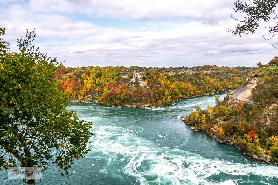 The Niagara River - part of Take this visual tour of a spectacular fall ride on the Whirlpool Aero Car, Niagara Falls. A must-stop if in the area, especially during fall! Click to full post with video.