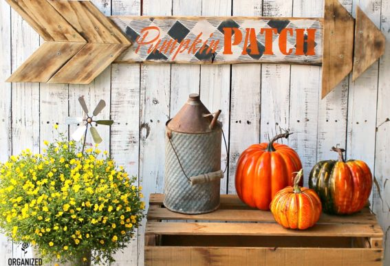 arrow pumpkin patch fall sign Organized Clutter