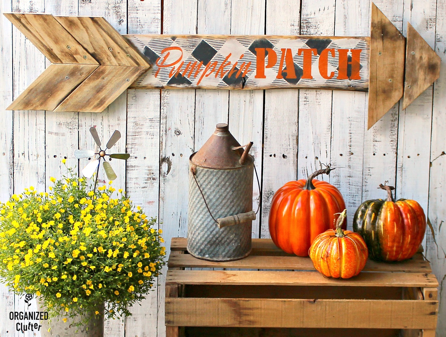 Buffalo Check Pumpkin Patch Arrow Sign by Organized Clutter, featured on Funky Junk Interiors