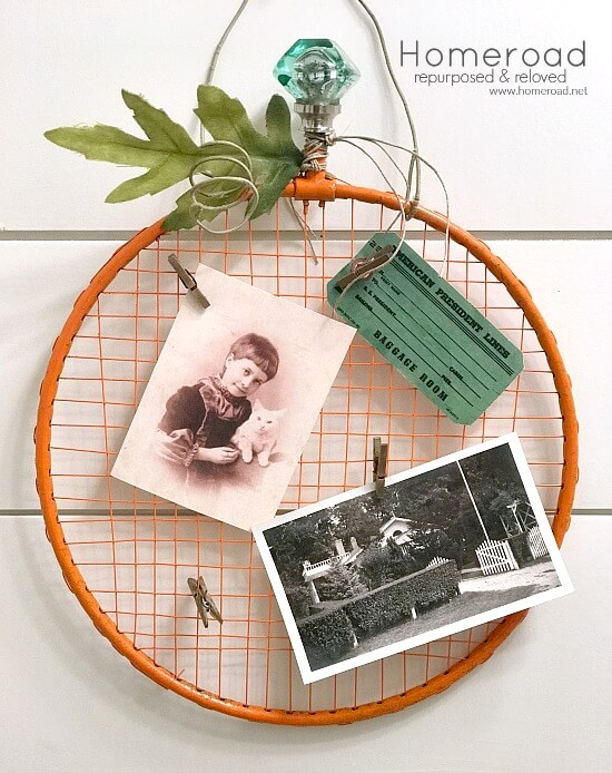 Tennis racket fall pumpkin memo board by Homeroad, featured on Funky Junk Interiors