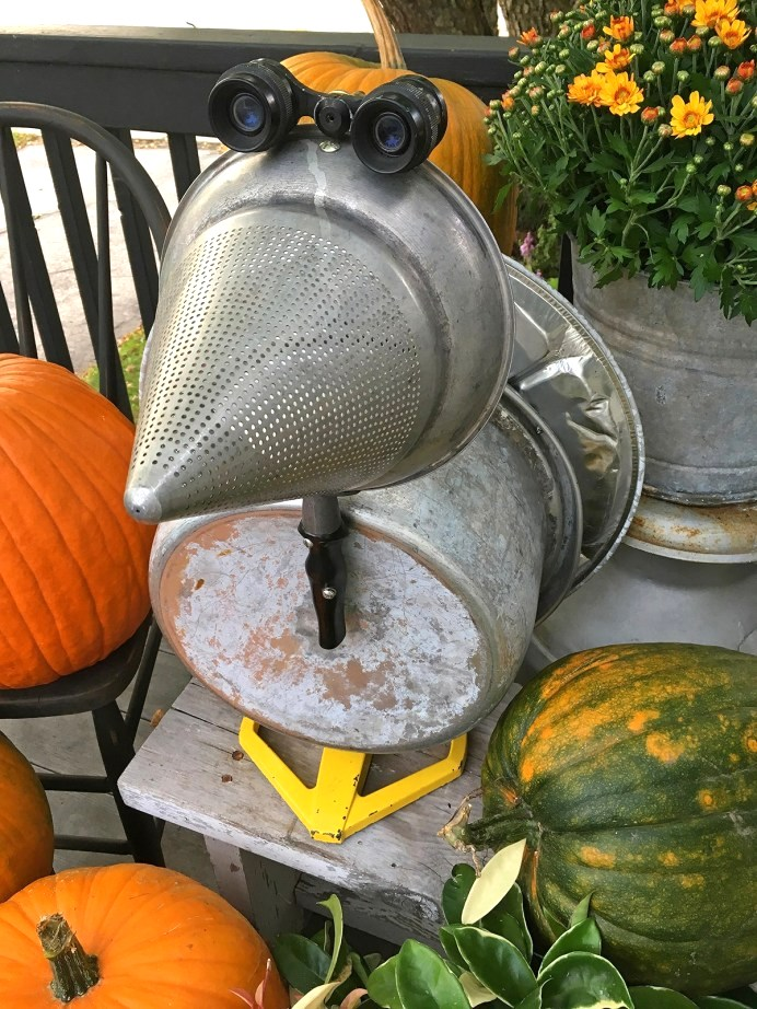 Thrift store junk fall turkey by Wisconsin Magpie, featured on Funky Junk Interiors