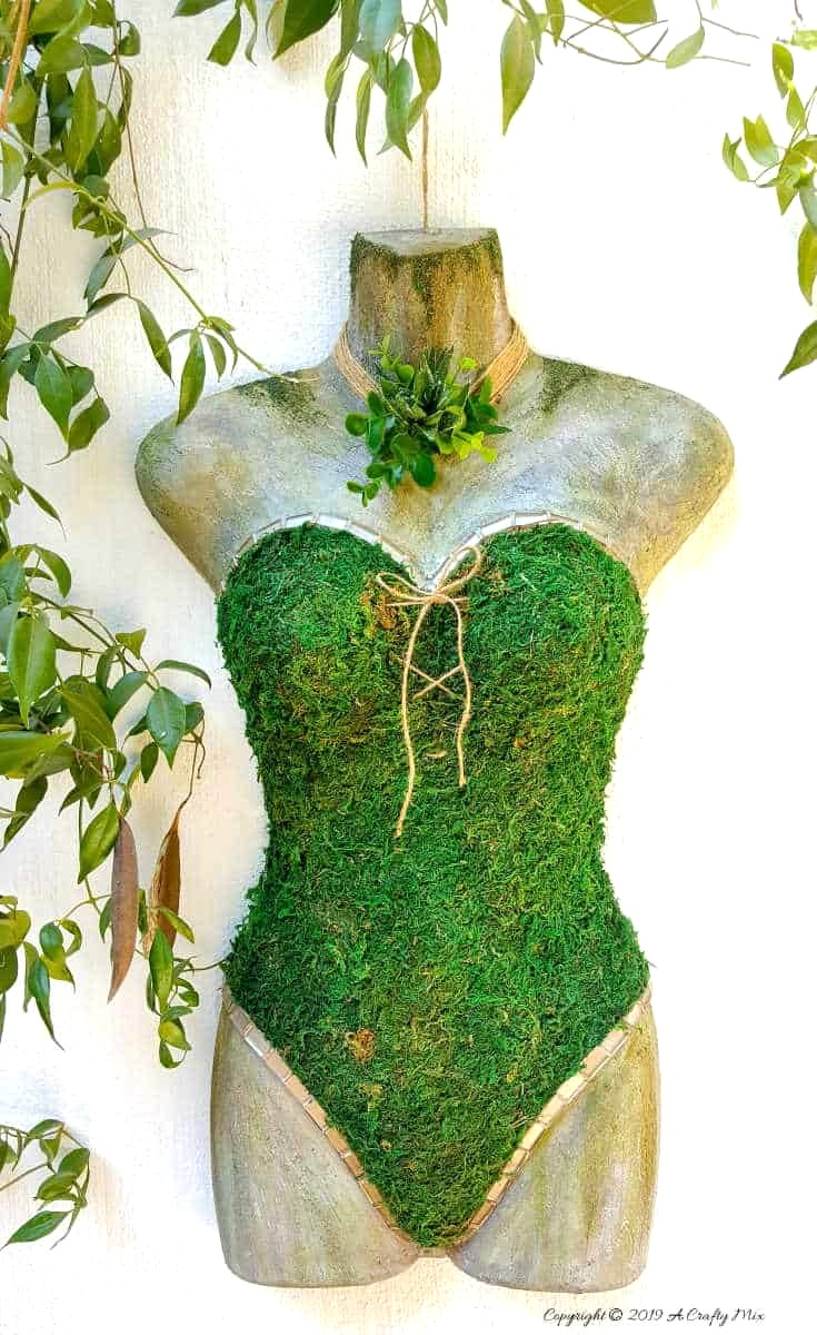 Moss and mosaic mannequin garden art by A Crafty Mix, featured on Funky Junk Interiors