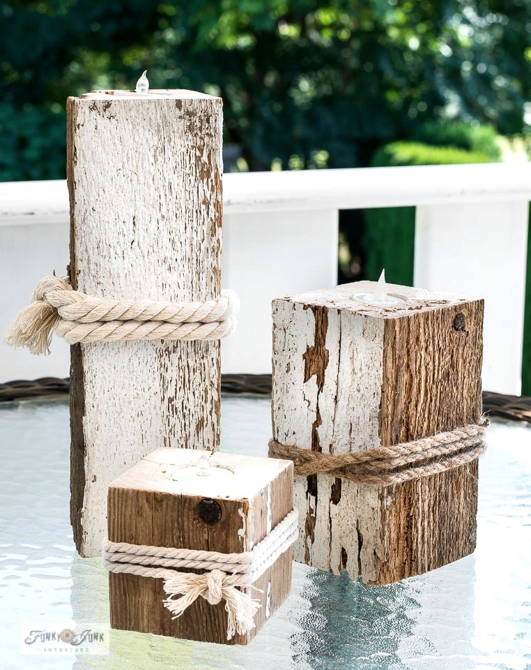 Learn how to make reclaimed wood candles that won't blow out. Take that, windy porches and patios! So easy to make with one simple tool. Click for tutorial.