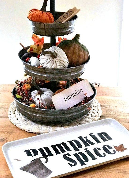 Pumpkin Spice fall trays by Homeroad, featured on Funky Junk Interiors