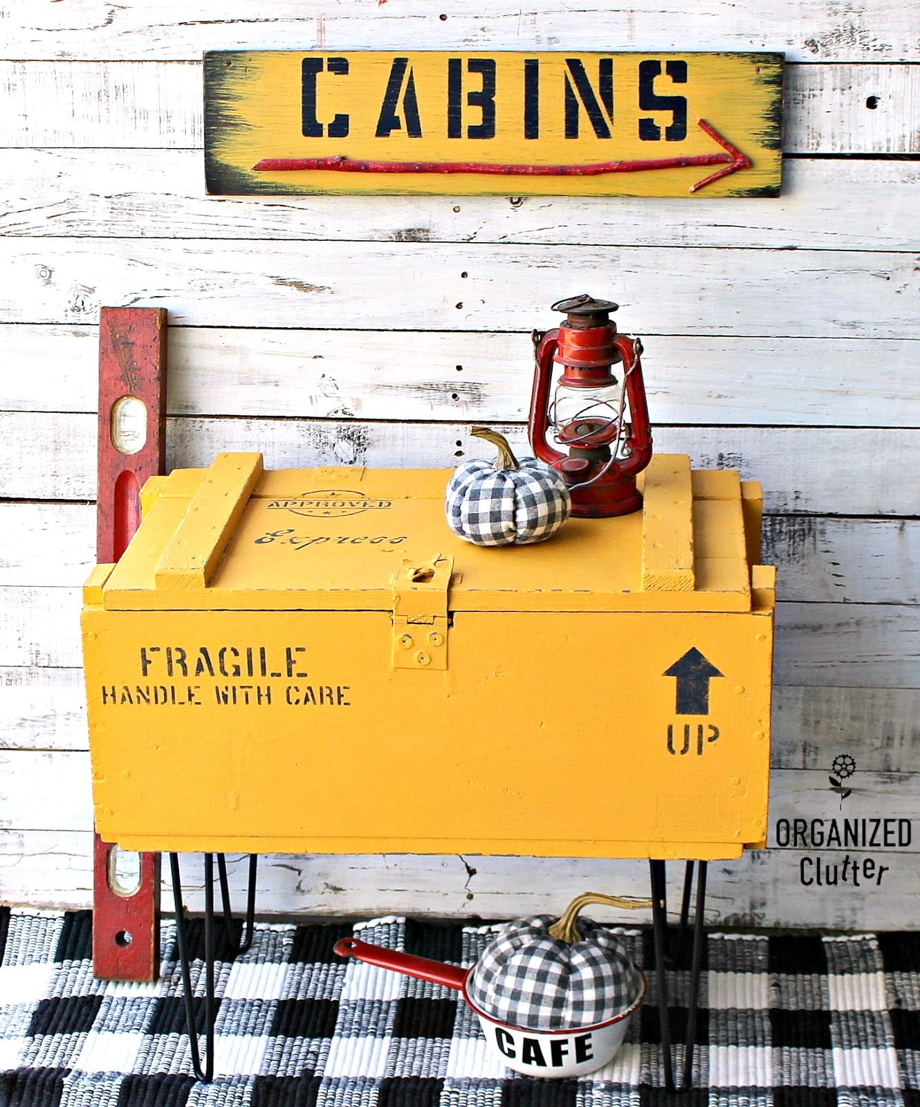 Pallet stamped crate on pin legs by Organized Clutter, featured on Funky Junk Interiors