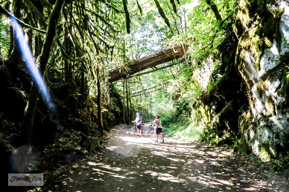 Take a stunning bike ride down the beautiful Kettle Valley Railway Trail at the Othello Tunnels in Hope, BC Canada! Very easy to navigate, and be sure to go all the way through Thacker Regional Park. Video clips included. #funkyjunkinteriors #othellotunnels #kettlevalleyrailway #travel #britishcolumbia #trails
