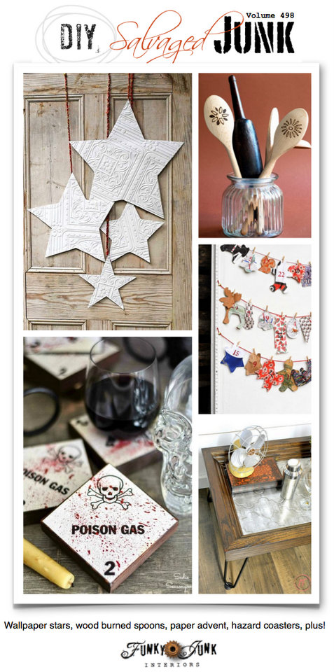 DIY Salvaged Junk Projects 497 - Wallpaper stars, wood burned spoons, paper advent, hazard coasters, plus! Features and an up-cycled link party. Join in!