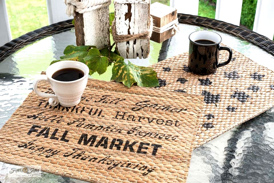 Learn now to stencil the cutest and easiest pumpkin pillows and fall placemats with Ikea items and Funky Junk's Old Sign Stencils! Stencils featuring Pumpkins, Falling Leaves, and Fall Greetings. Click for full tutorial.