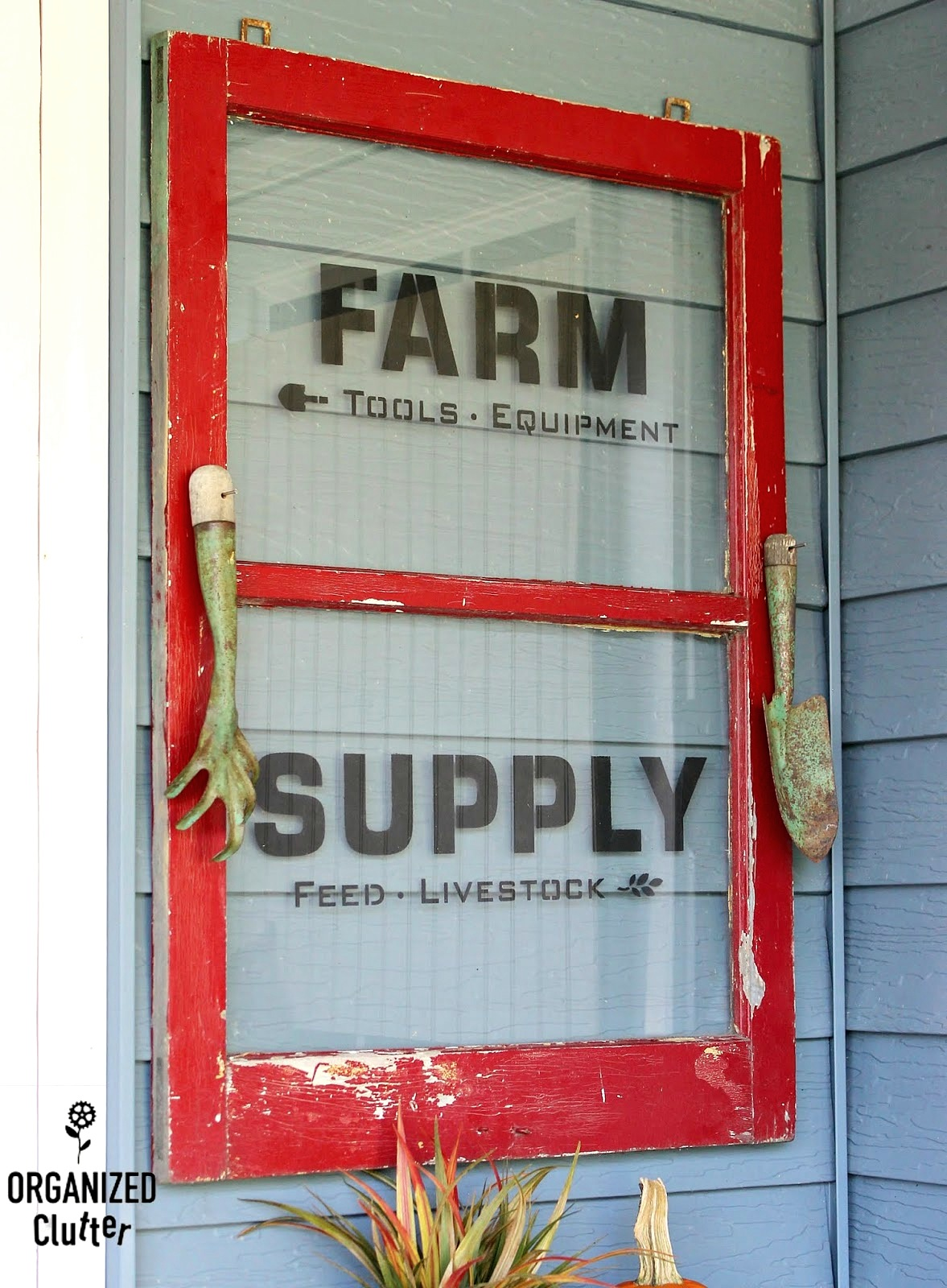 Vintage window Farm Supply sign by Organized Clutter, featured on Funky Junk Interiors