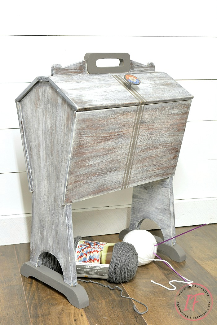 Revamped vintage sewing box stand by Interior Frugalista, featured on Funky Junk Interiors