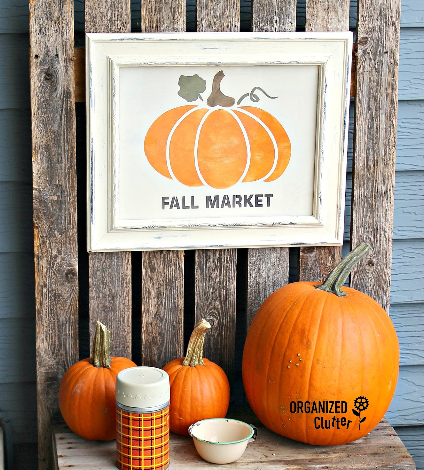 Framed fall pumpkin picture by Organized Clutter, featured on Funky Junk Interiors