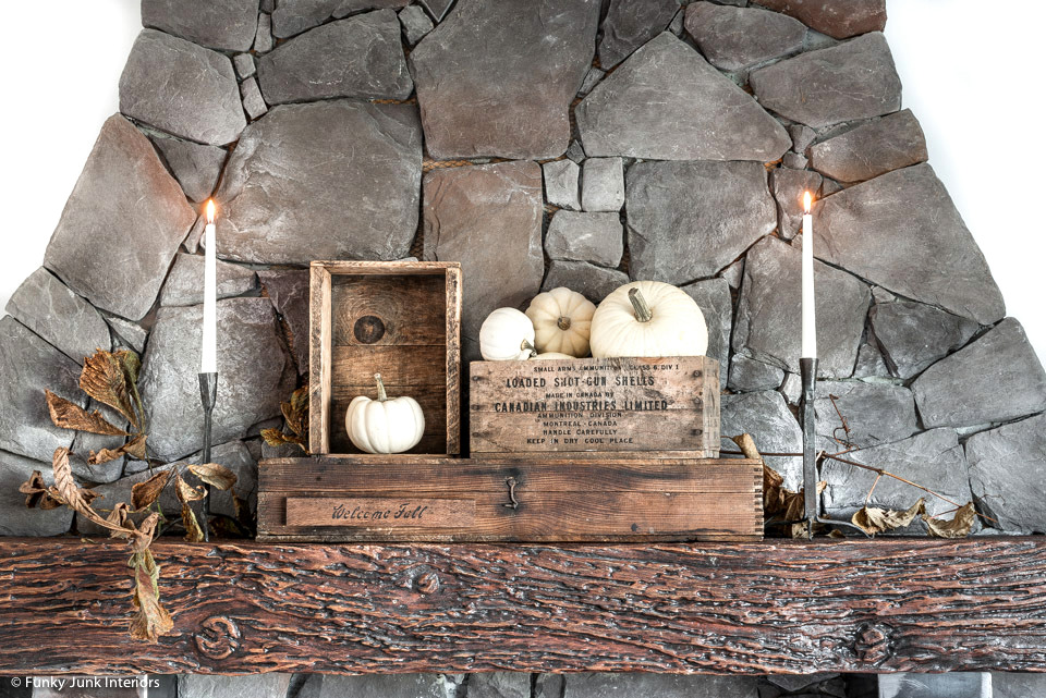 Learn how to make a fall pillow and sign in this charming welcome fall rustic living room tour. Includes a fireplace mantel filled with crates and pumpkins.