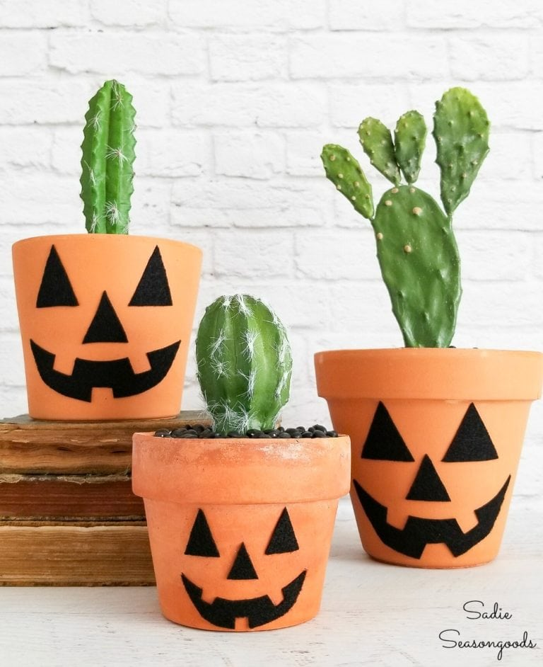 Pumpkin terra cotta planters by Sadie Seasongoods, featured on Funky Junk Interiors