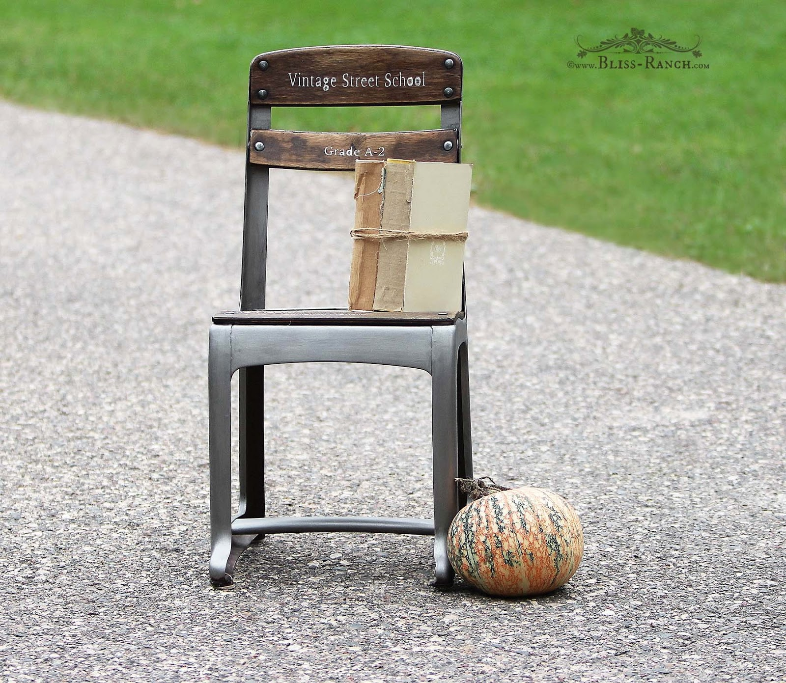 Vintage School Chair makeover by Bliss Ranch, featured on Funky Junk Interiors