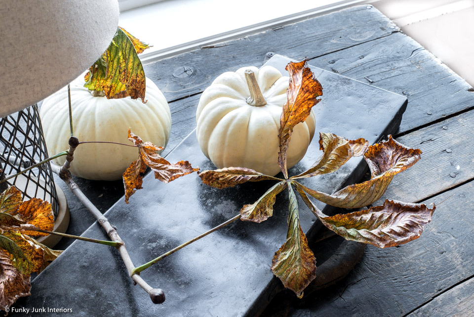White pumpkins and fall leaves on a metal toolbox a a fall vignette, part of a rustic living room fall tour.