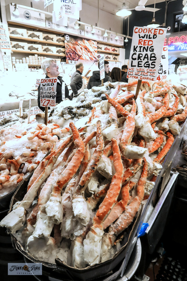Fresh crab legs at Pike Place Market in Seattle, Washington.