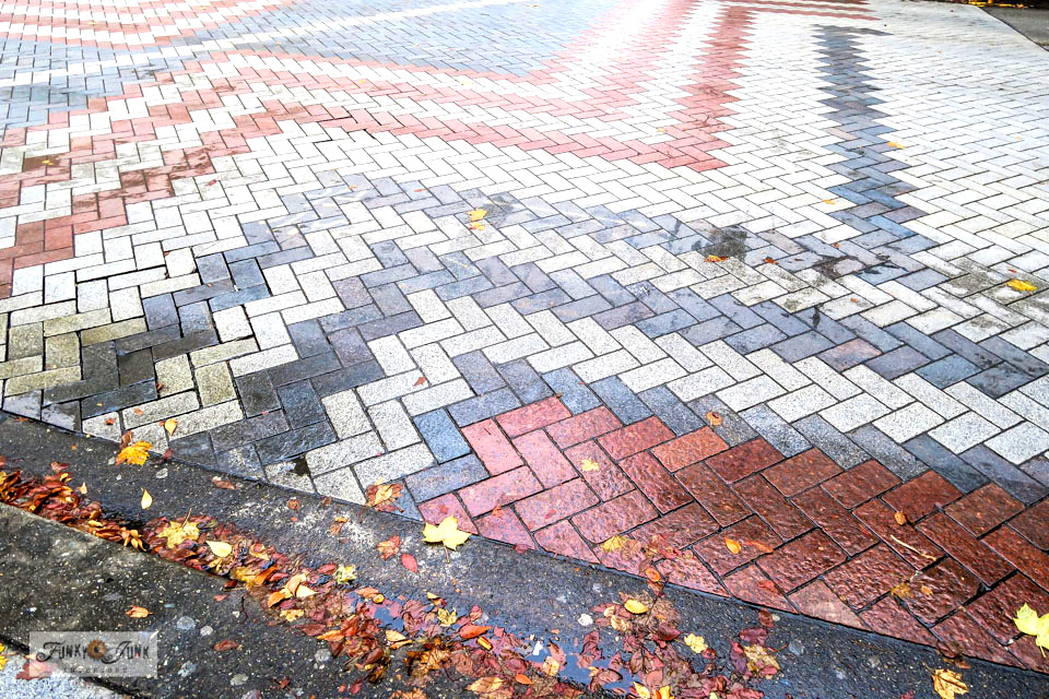 Gorgeous brick herringbone road intersections in Seattle, Washington.