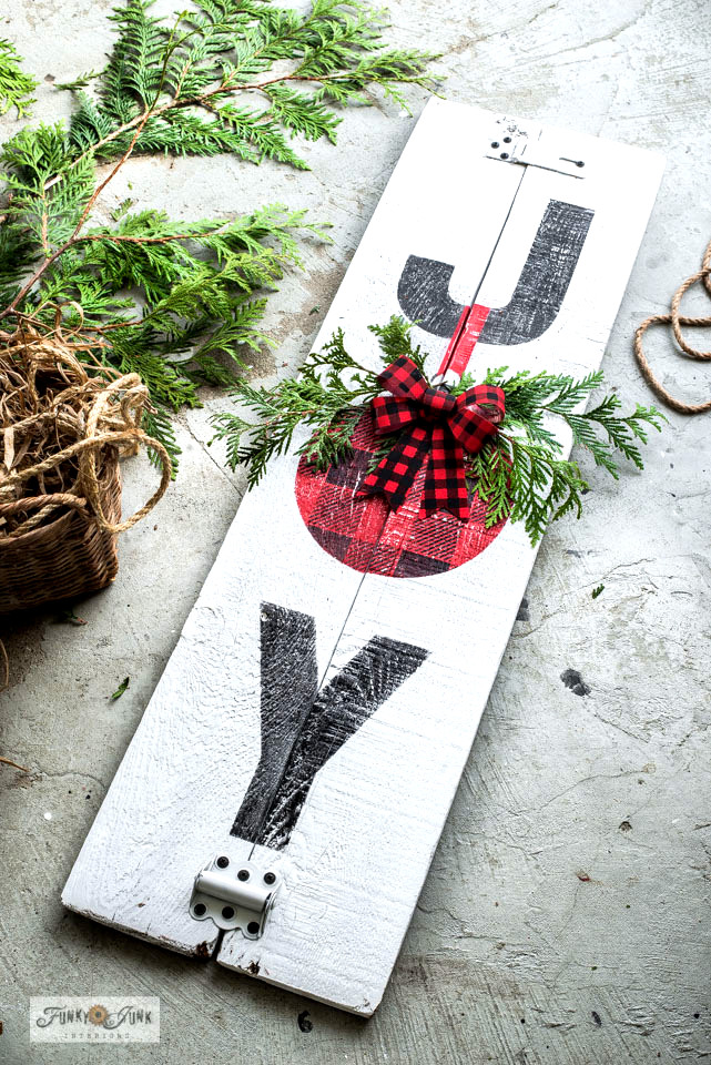 Joy Buffalo Checked Christmas sign by Funky Junk Interiors