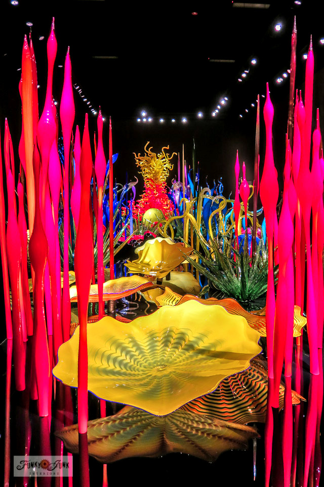 Take this incredible view of the colourful Chihuly Garden and Glass exhibit indoors. Black walls, ceilings and floors really make that vibrant glass art pop! Incredible exhibit located in Seattle, Washington next to the Space Needle.