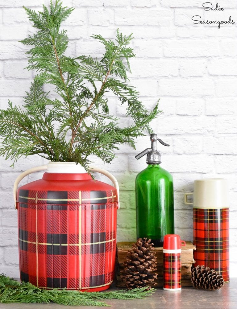 Christmas Buffalo Check skotch kooler vase by Sadie Seasongoods, featured on Funky Junk Interiors