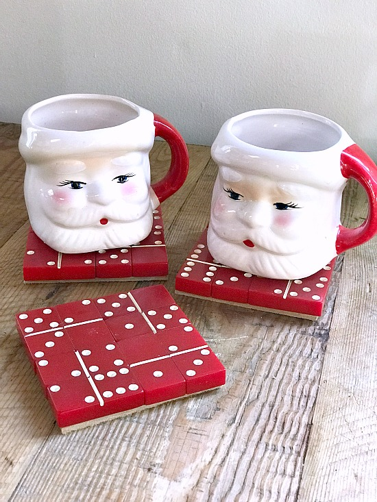 Red domino Christmas coasters by Homeroad, featured on Funky Junk Interiors