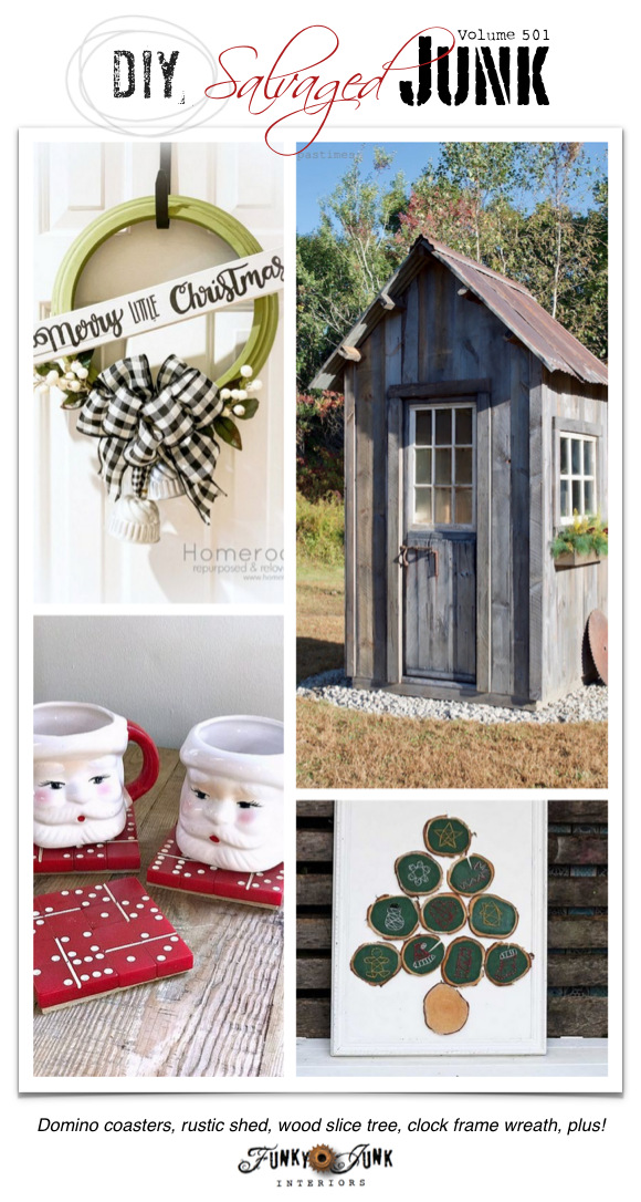 DIY Salvaged Junk Projects 501 - Domino coasters, rustic shed, wood slice tree, clock frame wreath, plus! Features and an up-cycled link party. Join in!