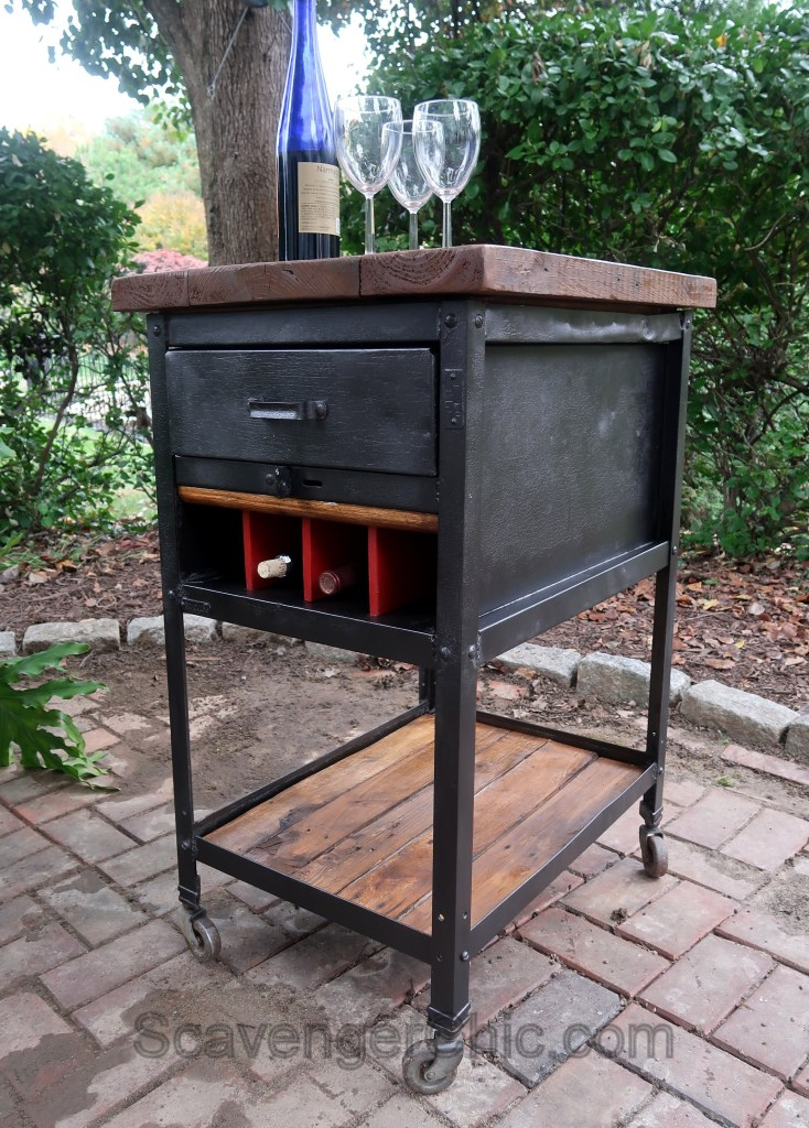 Industrial bar cart by Scavenger Chic, featured on Funky Junk Interiors